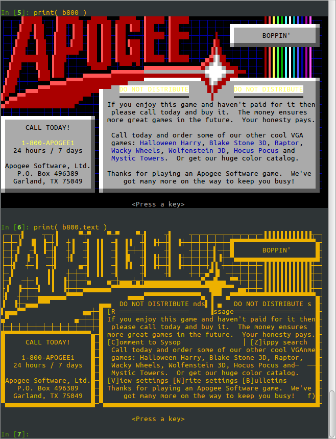 Apogee ordering screen from the end of Boppin', with and without colouring