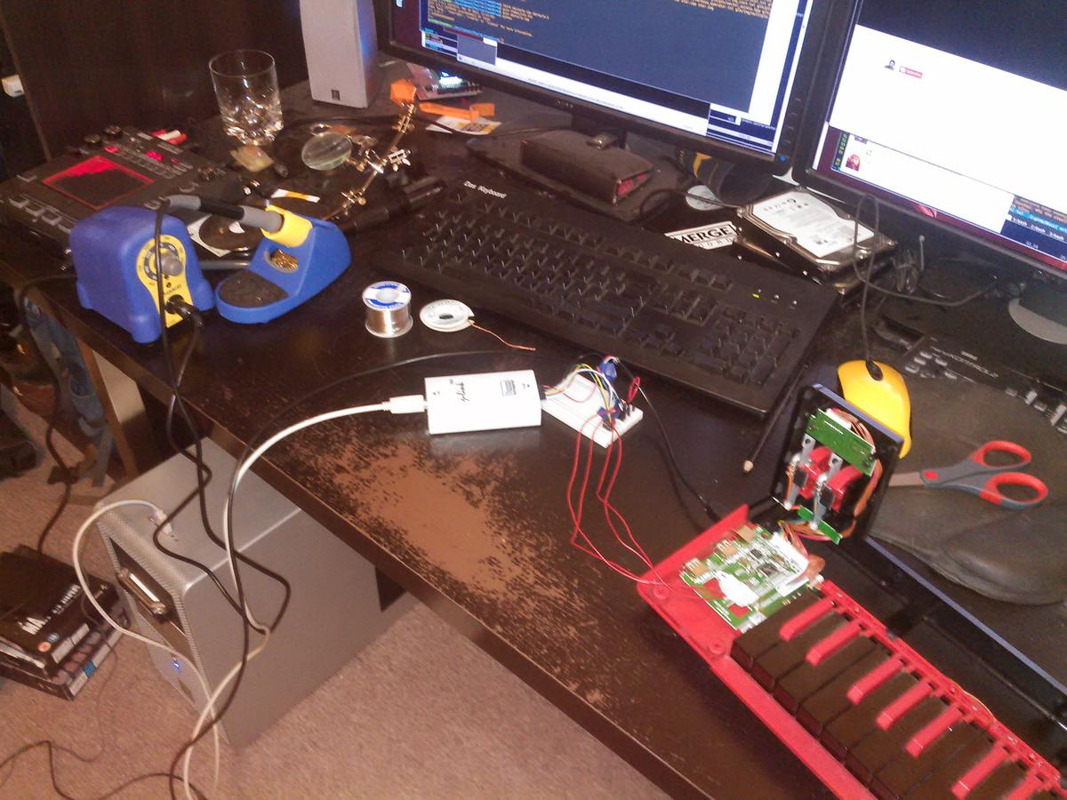 Test rig next to soldering equipment