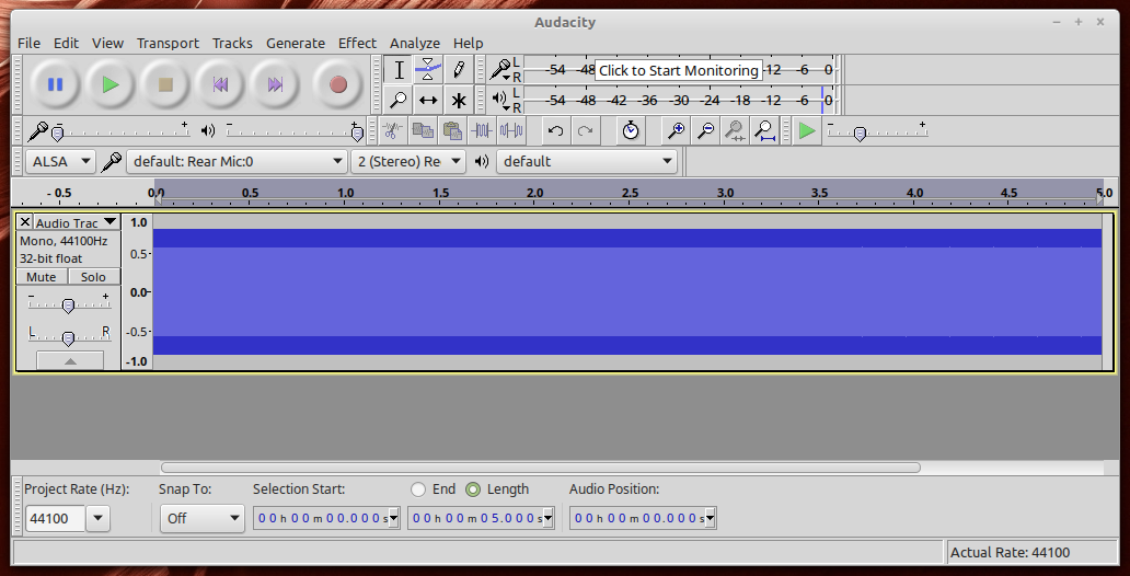 Audacity window showing zoomed out sine wave