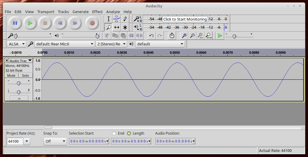 Audacity window showing zoomed in visible sine wave