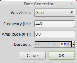 Audacity tone generator window