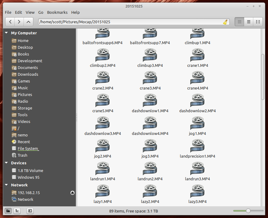 File manager window full of parkour videos