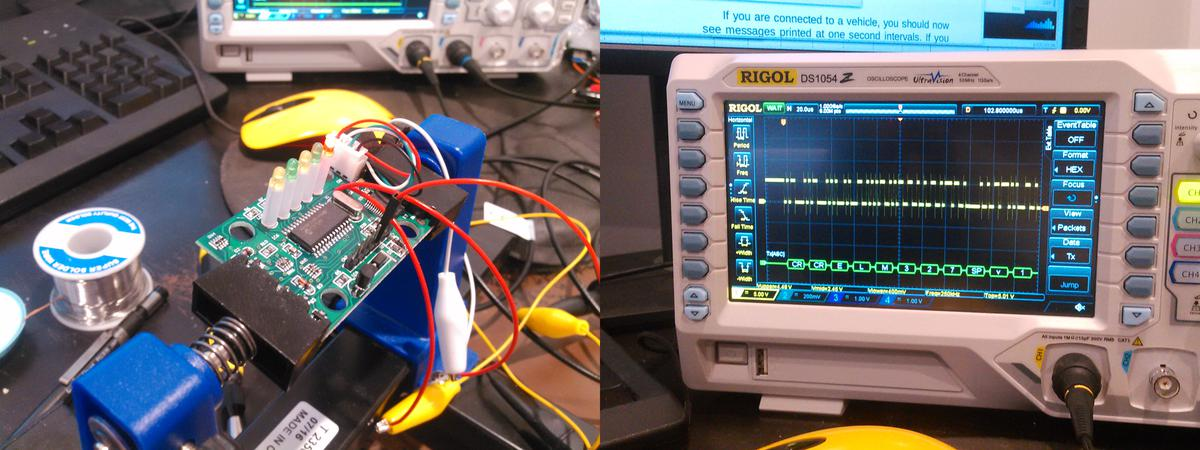 Oscilloscope wired to ELM327 adapter