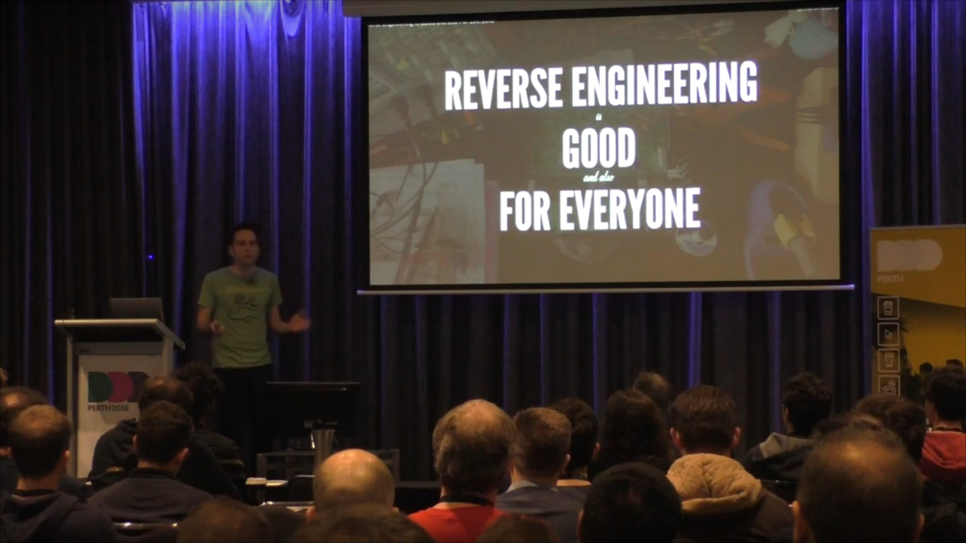 The author preaching about reverse engineering to a captive audience